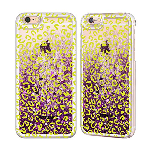 Official Cosmopolitan Green Leopard Animal Skin Patterns Purple Liquid Glitter Case Cover for Apple iPhone 6 / 6s