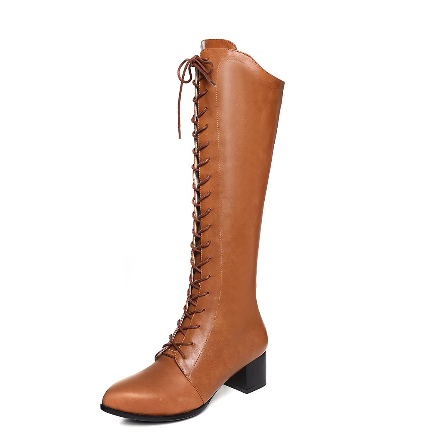 1920s Style Shoes NIQI Genuine Leather Womens Mid Heel Knee High Booties Side Zipper Combat Military Motorcycle Boots $89.00 AT vintagedancer.com