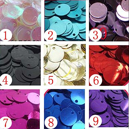 20mm Round FLAT SEQUINS Gold Silver Colors Red Blue Pink Purple Green Loose sequins for embroidery, applique, knitting, arts, crafts, and embellishment