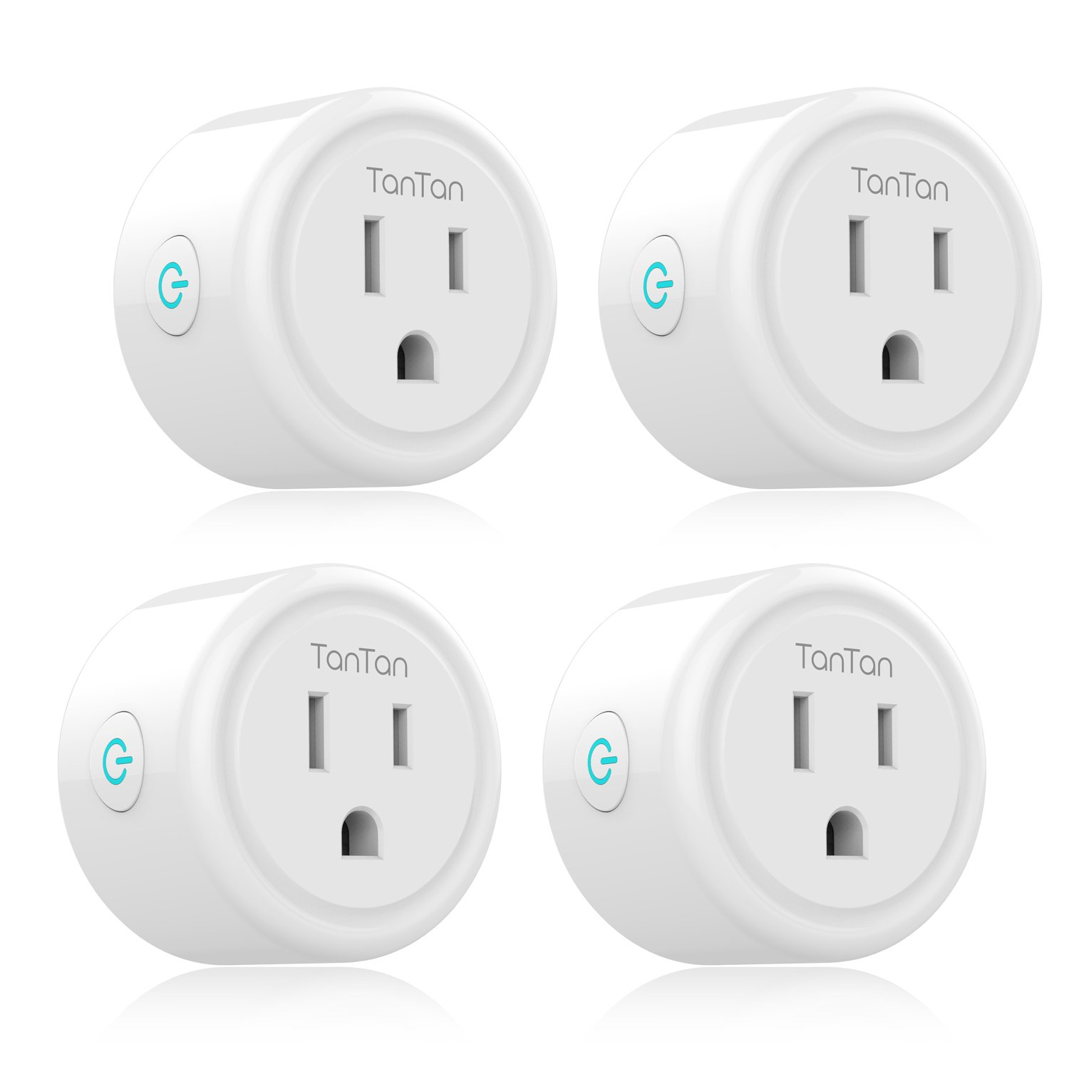 Smart Plug TanTan WiFi Enabled Mini Socket - 4 Packs, Timer Outlet, Work with Amazon Alexa & Google Assistant, No Hub Required, Remote Control Your Devices from Anywhere, ETL Listed