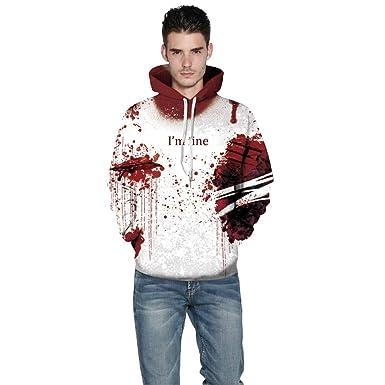 Halloween Mujeres Hombres Sangre Impresión 3D Sudadera Manga Larga Sudadera Pullover Tops Chaqueta Tops Casual Outwear Camisetas Hombre Amlaiworld: ...