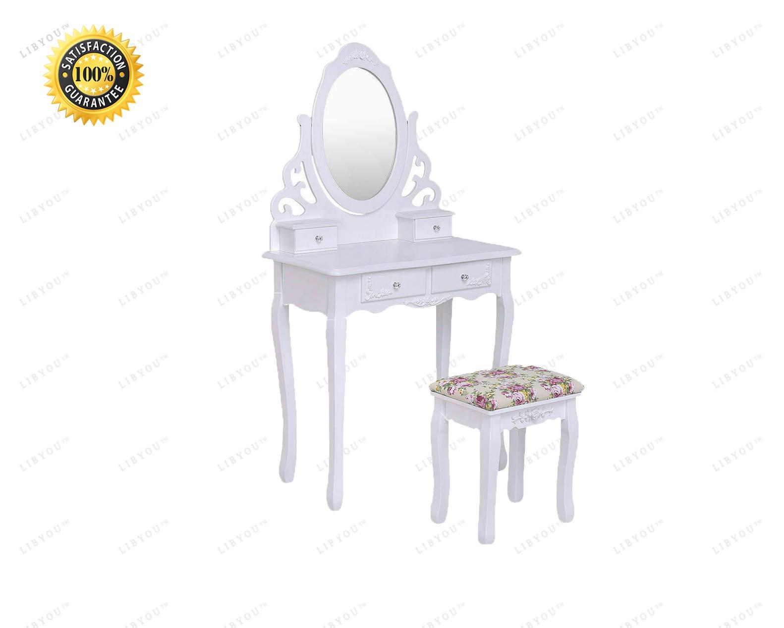 LIBYOU__Dressing Table Set,Vanity Wood Makeup Table,Vanity Wood Makeup,Mirrored Dressing Table,Vanity Table Set,Dressing Table,Mirror Makeup Table,Wood Makeup Dressing Table