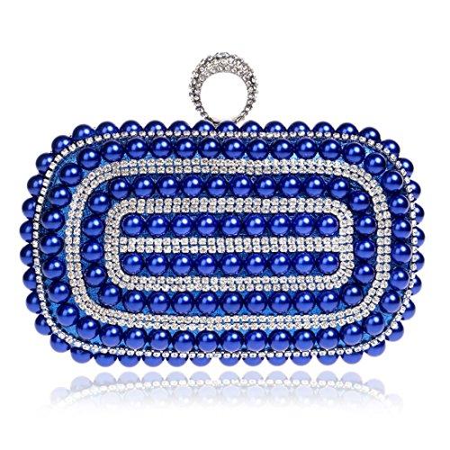 Blu Socialite Night Nightclub Houyazhan Luxury Clutch Bag Bride Blu Pearl Purse colore nOww167q4P