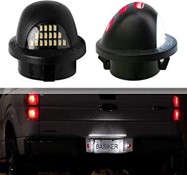 Superduty Ranger Explorer Bronco Excursion Expedition Pickup Truck Xprite White LED License Plate Light Assembly Replacement Tag Lamp for 1990-2014 Ford F-150 1990-1999 F-250 F-350