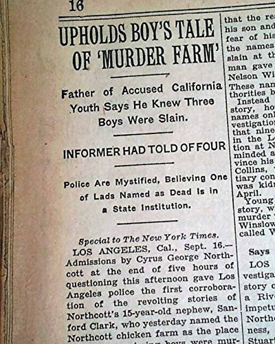 WINEVILLE CHICKEN COOP MURDERS Walter Collins Movie Changeling 1928 Newspaper THE NEW YORK TIMES, September 17, 1928