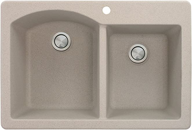 Transolid K Rtdo3322 01 Radius Granite 1 Hole Drop In Double Offset Bowl Kitchen Sink Kit 33 In L X 22 In W X 9 In H White Tools Home Improvement Triple Bowl