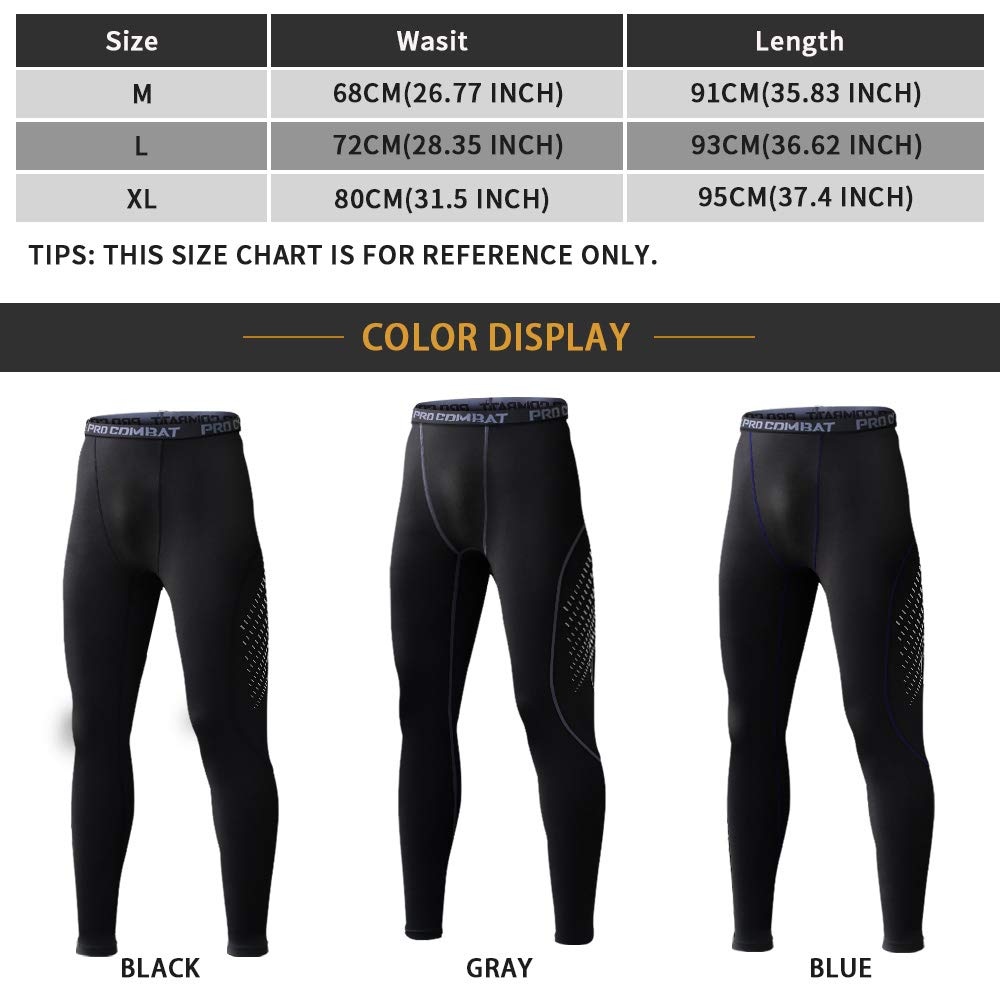 Mens Compression Pants 3 Packs Running Cool Dry Sports Training Tights