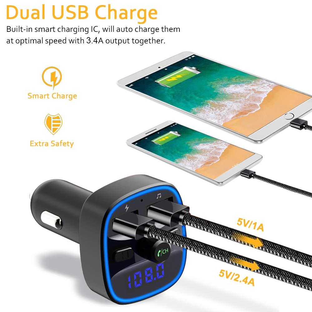 Blue Ambient Ring Light Caricatore USB Doppio 5V // 2.4A e 1A Kit Vivavoce Bluetooth con Chiamata a Mani Libere Cocoda Trasmettitore Bluetooth per Auto, Disco USB Scheda SD di Supporto
