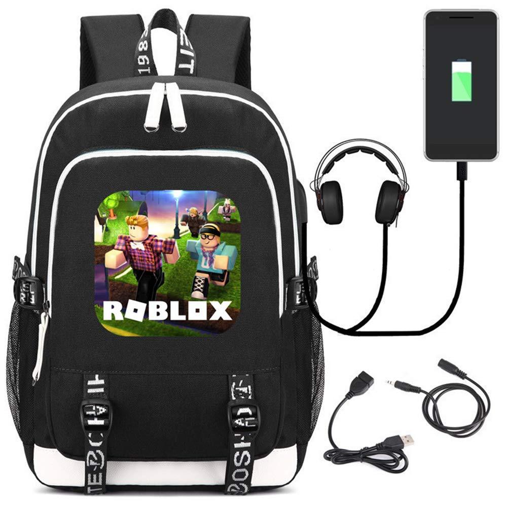 Popular Game Roblox Mochila de impresión USB Carga Knapsack Estudiantes Cartoon Schoolbag Mochila de Lona para niños Mochila Escolar Bolsas Adolescentes Viaje Daypacks