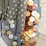 Naladoo 20 Cotton Ball String Lights Fairy String Lights Wedding Party Kid Bedroom Fairy Lights for Christmas, Thanksgiving, Covered Outdoor, Indoor Parties & Home Decorations (Multicolor F)