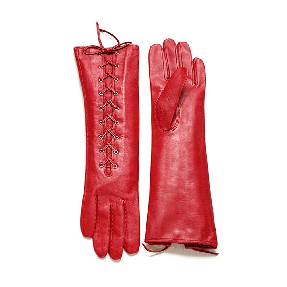 Winter Women's Autumn / Winter Long Sheepskin Gloves, Mercerized Lining Red ( Size : L )