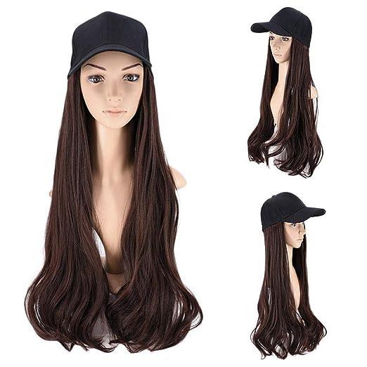 Gorra de béisbol con peluca de pelo sintético con sombreros de ...