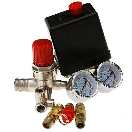 Regulador de presión + interruptor de botón interruptor para compresor Compresores 220 V