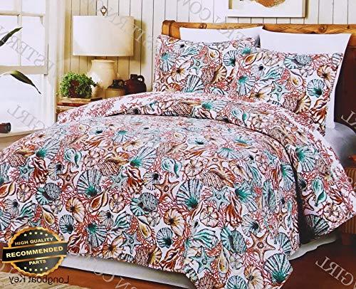 Werrox 3 Piece Beach Tropical Sea Life Beach Crab Starfish Quilt Bedspread Set   Size   Quilt Style QLTR-291265498