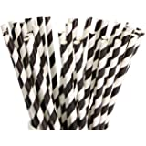 """Paper Straws 200 Pack Biodegradable Black and White Striped Design 8.25"""" Quality Multi Colored Straw for Everyday/Birthday Pa"""