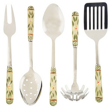 GREEN: Temp-tations Old World 5-piece Stainless Steel Utensil Set - K28265 — QVC.com