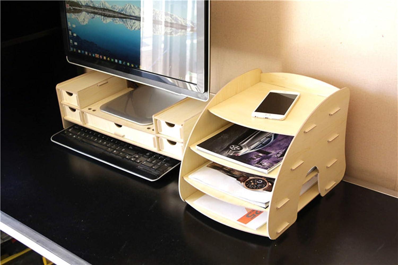 scuola A4 in legno formato A4 portariviste casa studio LxBxH 34 x 27.5 x 24.5 cm con 4 scomparti Portariviste da scrivania per ufficio Beige portadocumenti rimovibile