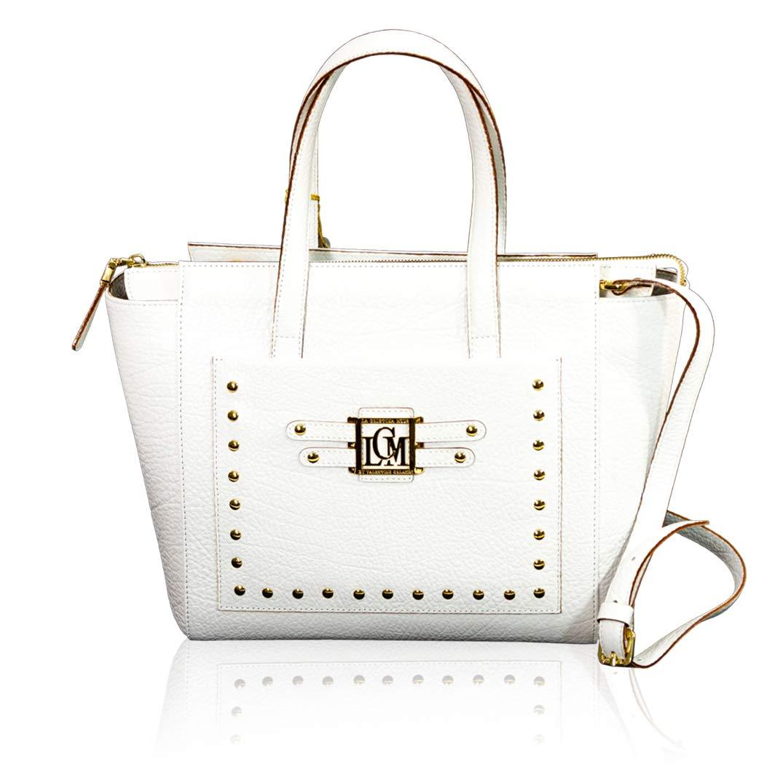 ebc8c368af9 Amazon.com: Valentino Orlandi Italian Designer White Leather Studded Purse  Crossbody Bag: Shoes