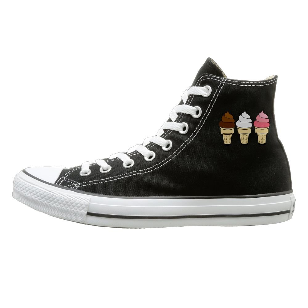 Shenigon Ice Cream Cones Canvas Shoes High Top Casual Black Sneakers Unisex Style