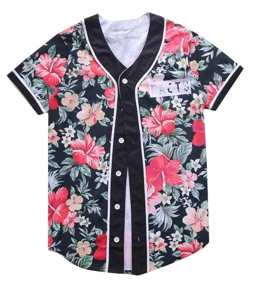 HTOOHTOOH Mens Print Button Down Shirt Short Sleeve Hipster Hip Hop Shirt