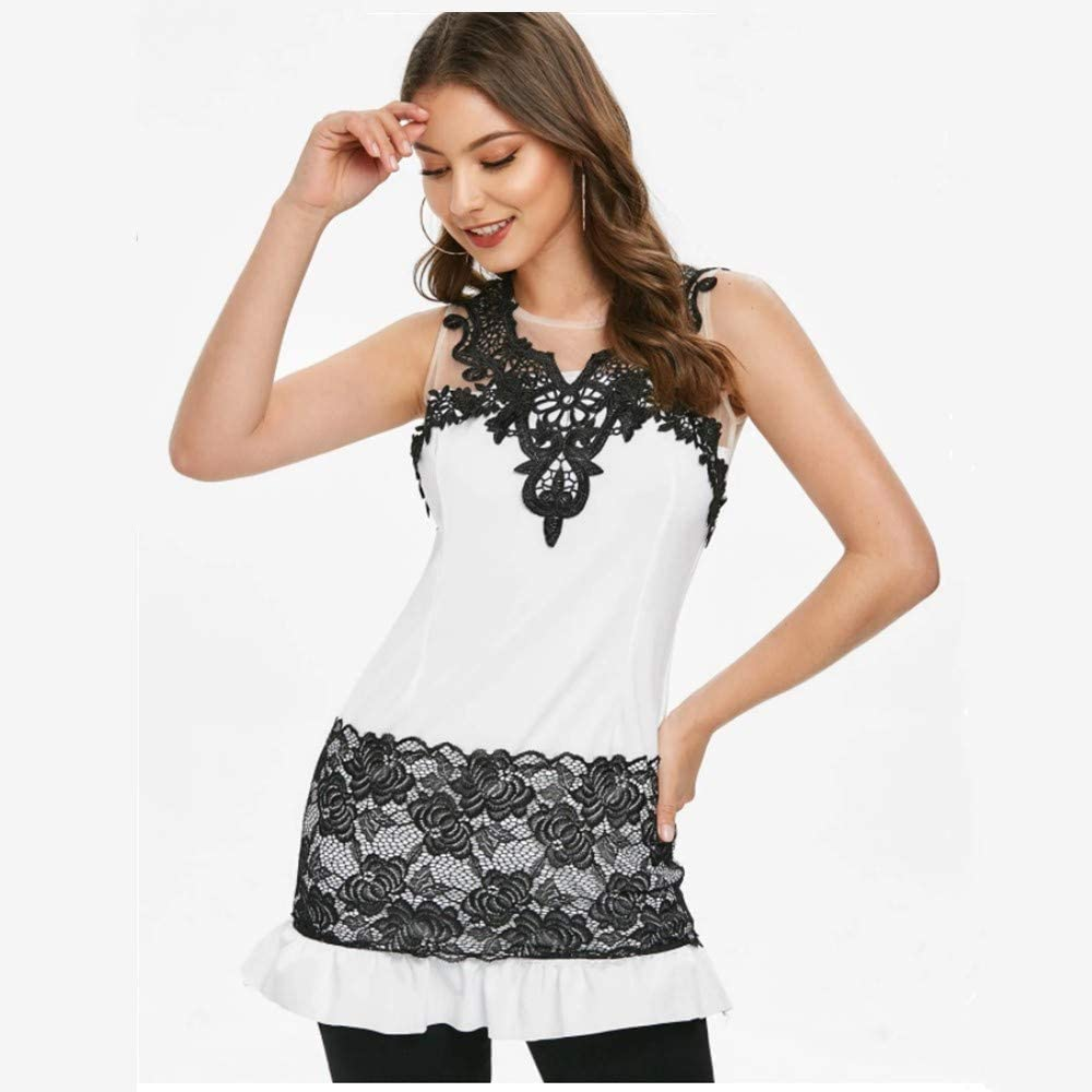 DAYPLAY Womens Tank Tops Workout Ladys Summer Sleeeveless Lace Patchwork Perspective Back Top Blouse 2019 Sale