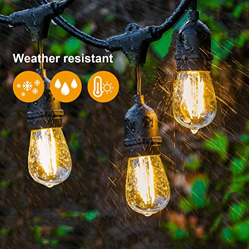 JACKYLED-Outdoor-String-Lights-LED-Dimmable-UL-48-Ft-Heavy-Duty-Cord-18-Sockets-19-x-2-Watt-LED-Bulbs-1-Spare-Vintage-Weatherproof-Edison-String-Lights-for-Patio-Backyard