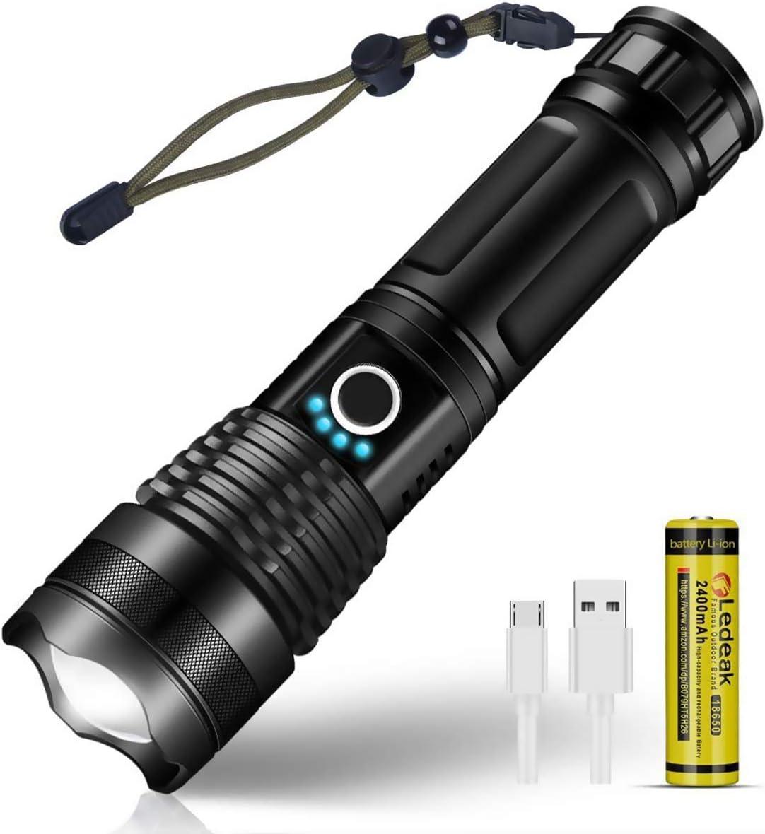 LED Lampe Torche P14 Travail Construction Puissant IPX4 Imperméable Aa Piles