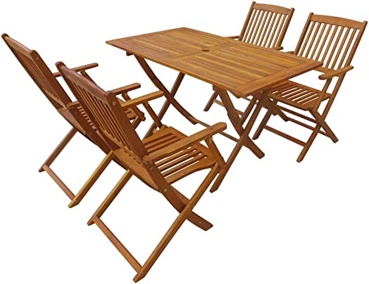 Festnight Solid Eucalyptus Folding Dining Set 5 Pieces Outdoor Folding Table 4 Folding Chairs Wood Weather-Resistant Space Saving