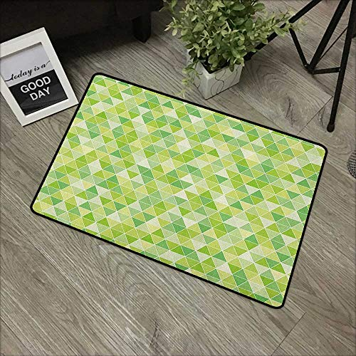 Outdoor Door mat W24 x L35 INCH Lime Green,Triangles Geometry Figures Modern Digital Pyramids Soft Icons Graphic, Pale and Fern Green Non-Slip Door Mat Carpet