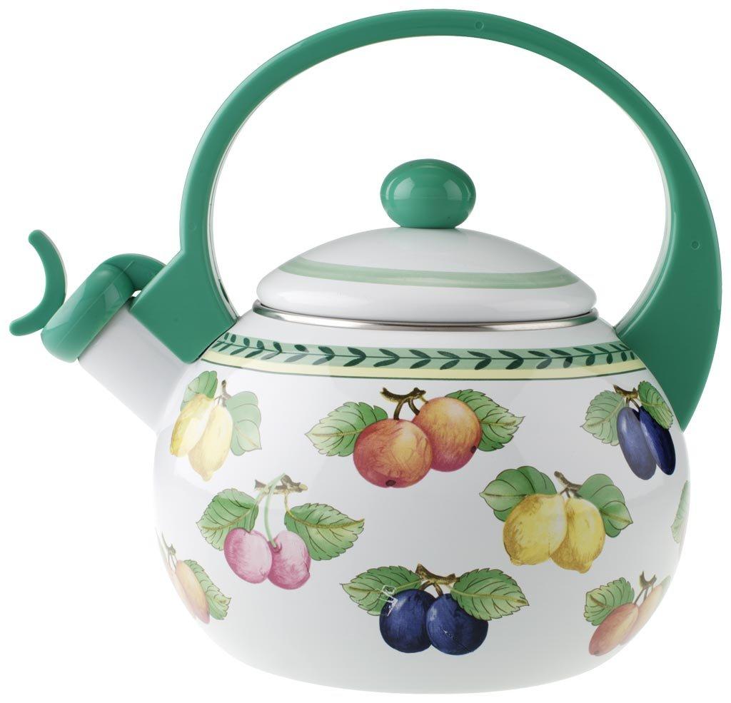 Villeroy & Boch French Garden Kitchen Teekessel/Induktionsgeeigneter Tee Wasserkocher mit Pfeife / 1 x 2-Liter Teekessel mit Fruchtmotiv 1454807021
