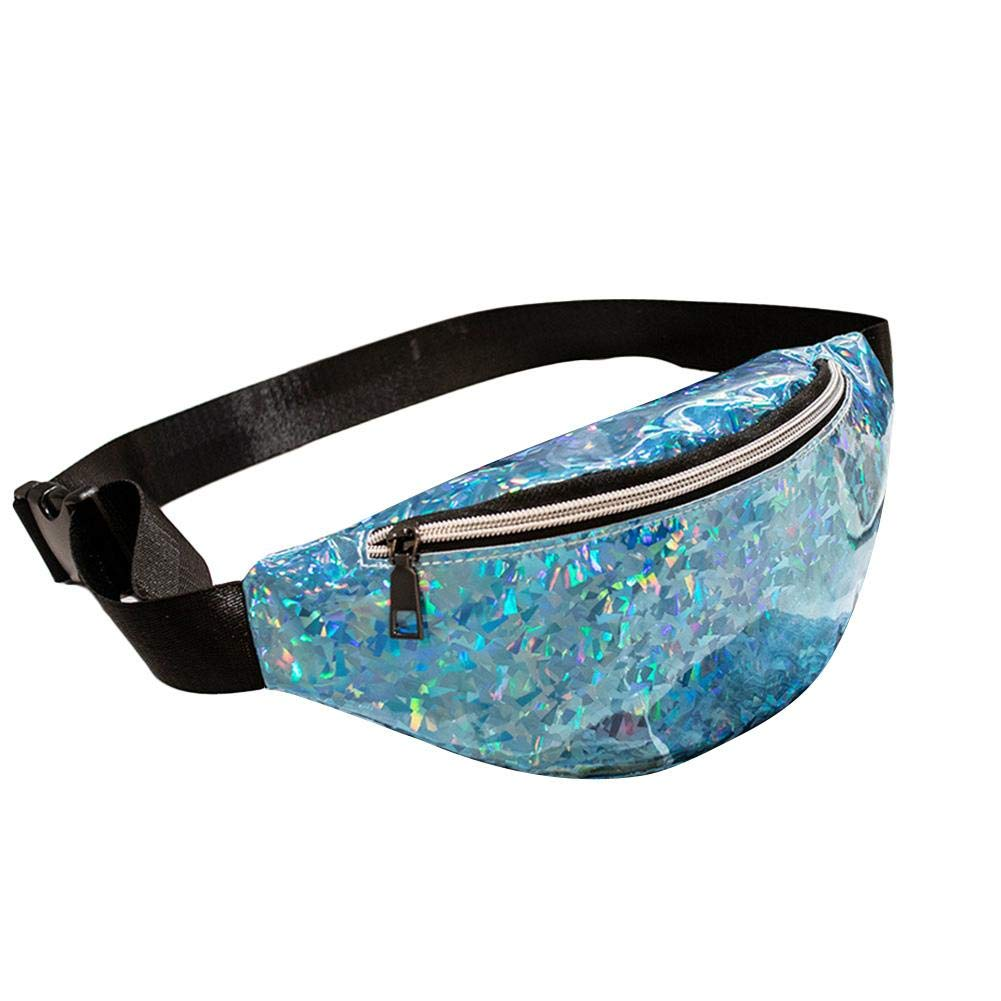 JaneDream Fanny Pack with Hidden Pocket Primitive Lodging Wind Blink Bag Waist Pack Women Glitter for Running Raves Festivals