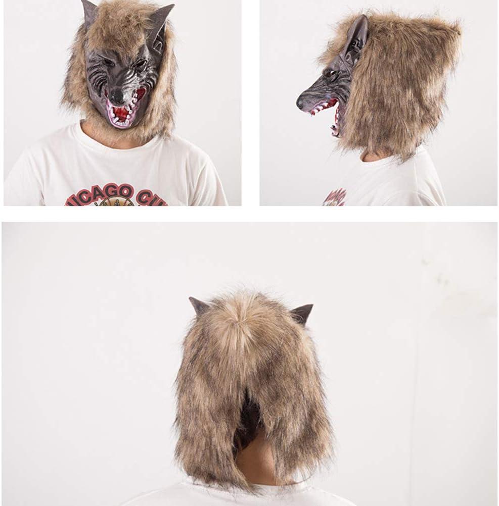 DESHOME Traje del Hombre Lobo de Halloween, Látex Lobo Máscara y ...