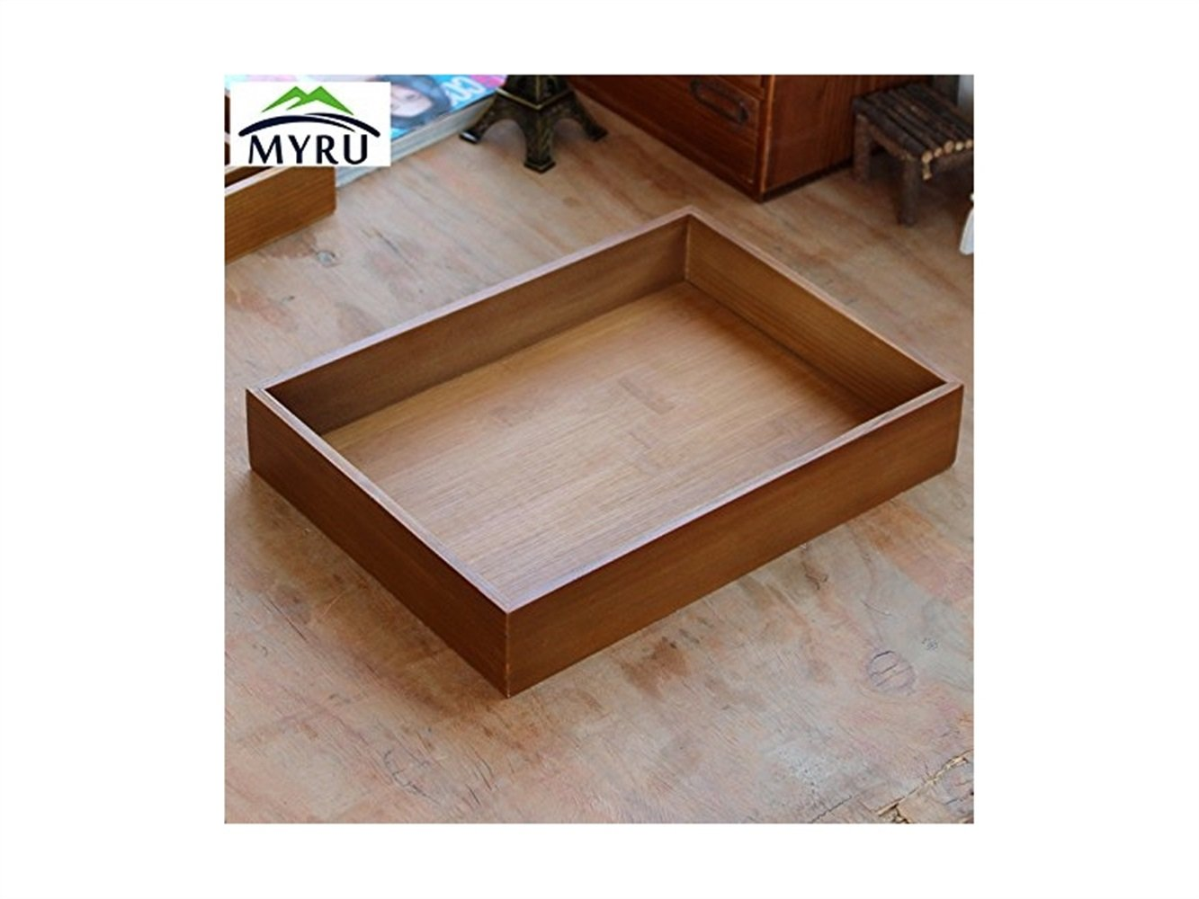 Yuchoi Perfectly Shaped Size L Wooden and Bamboo Storage Tray Dish Tray Fruits Tray