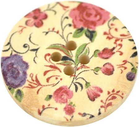 Confezione da 10 Viola e Blu Floreale Bottoni in Legno 30mm