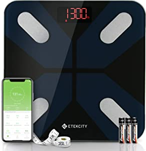 Pèse Personne Impédancemètre, Balance Connectée Bluetooth avec 13 Données Corporelles, BMI/Masse Graisse/Muscle/Eau/Protéine/Poids etc. Utilisateurs Illimité, LCD-rétro, Noir