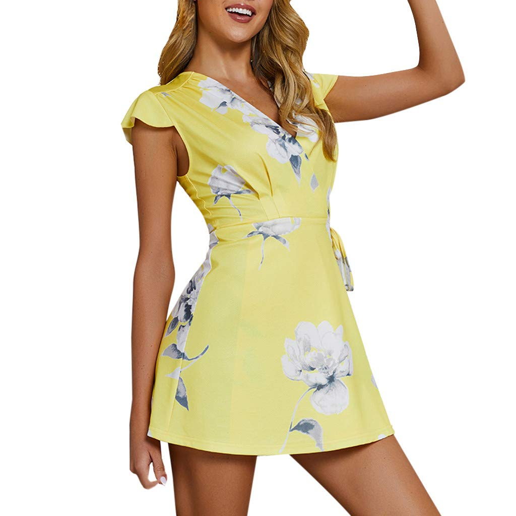 Keliay Dress for Women Summer,Womens Holiday Mini Floral V Neck Lace-up Ladies Beach Summer Dress Sundress Yellow by Keliay