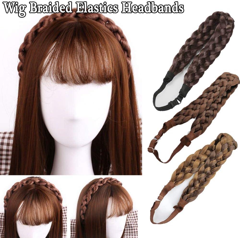 pelo sint/ético Postizo: goma para el cabello en trenza banda el/ástica hair circlet WIG ME UP /® negro YZF-3080-1