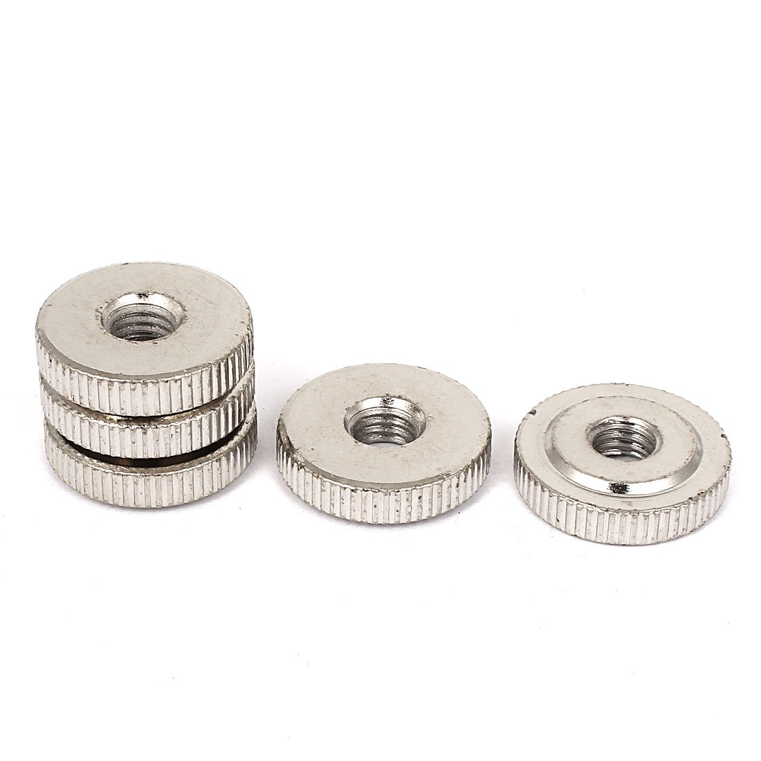 uxcellM8 x 24mm Nickel Plated Thin Type Knurled Thumb Nuts DIN 467 5 Pcs a16050300ux0504