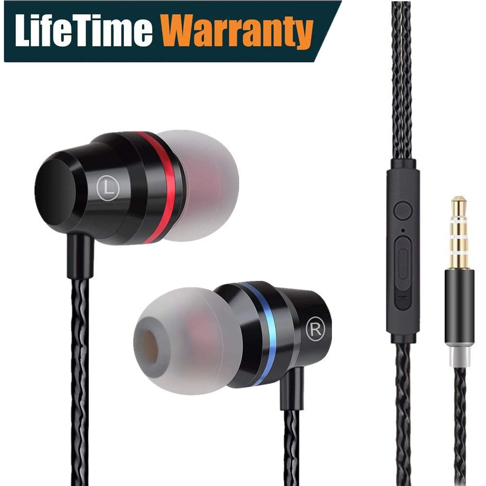 Earbuds Ear Buds Earphones in Ear Headphones Stereo with Microphone Mic and Volume Control Wired Waterproof for iPhone Samsung Android Smartphones Mp3 Players Tablet Laptop 3.5mm Audio (Black)