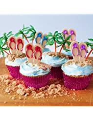 (24) Beach Flip Flop Picks Cupcake Kit - (12) Red Purple Blue Flip Flop Cupcake Picks (12) Palm Tree Novelties (30) Pink Foil Cupcake Liners - Summer Luau Swim Bachelorette Bridal Birthday Party