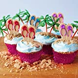 (24) Beach Flip Flop Picks Cupcake Kit - (12) Red Purple Blue Flip Flop Cupcake Picks (12) Palm Tree Novelties (30) Pink Foil Cupcake Liners - Summer Luau Swim Bachelorette Bridal Birthday Party
