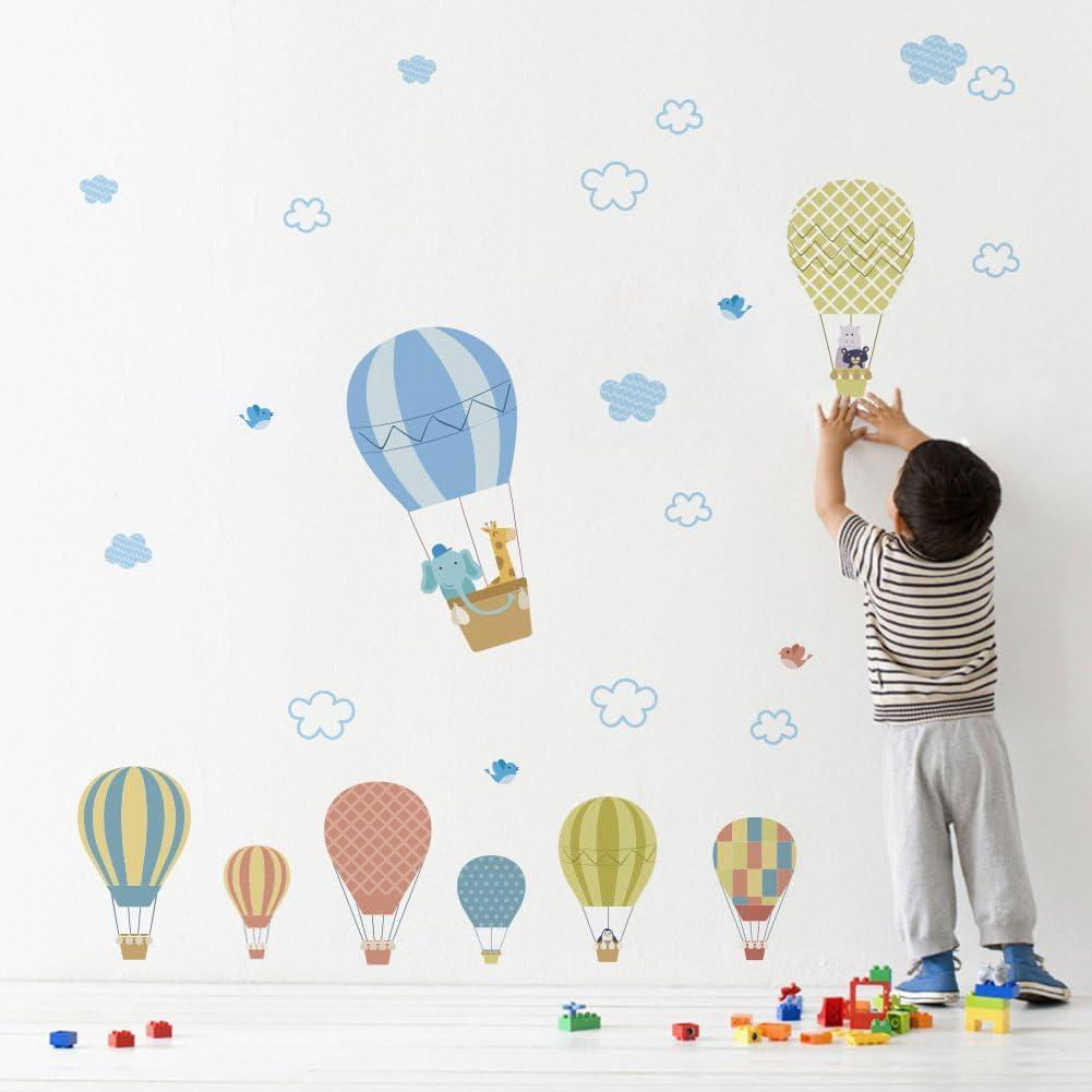 Cartoon DIY Hot Air Balloon Cloud Wall Stickers Kids Room Decal Mural Art Decor