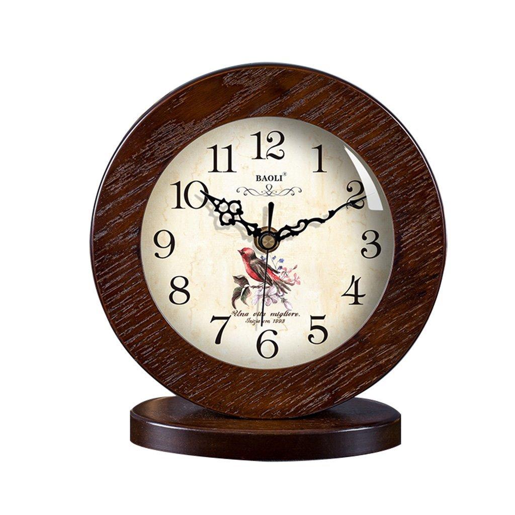 HAOFAY clock - Retro Vintage Mantel/European Modern Wood Simple Silent Quartz Clock Desk and Shelf Clock