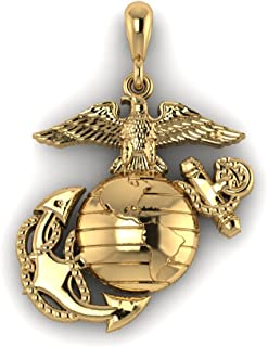 product image for 10K Yellow Gold 3/4 Inch Marine Corps Eagle Globe and Anchor Pendant