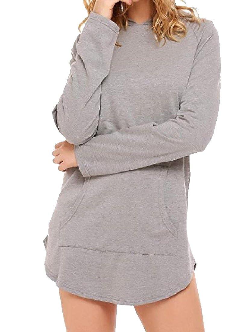 Tingwin Women Long Sleeve Mid-Length Kangaroo Pocket Jersey Pullover