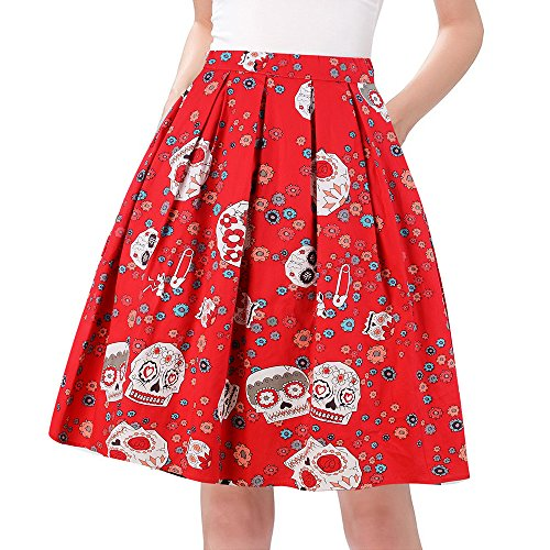 Taydey 50's Bubble Style Retro Pleated Skirt Floral Size S Red Flower (50 Plus Size Dress Rockabilly)