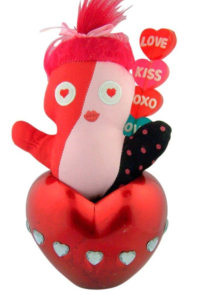Stuffed Animal Doll in Puffy Heart Shape Vase