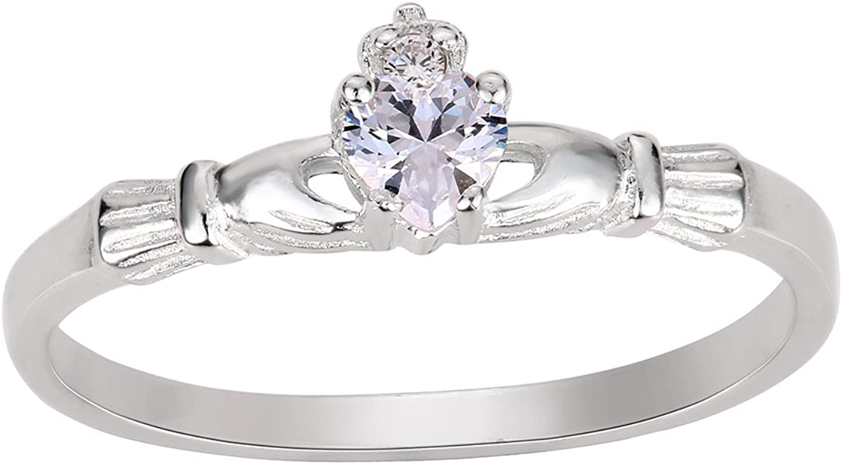 Color Options, Sizes 1-13 Princess Kylie Cubic Zirconia Blessing Claddagh Ring Sterling Silver
