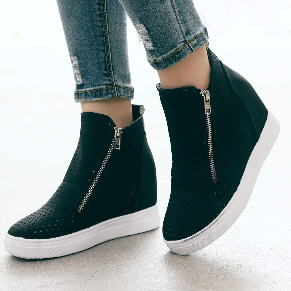 Miuye yuren-Shoe Ladies Fashion Zipper Hollow Ankle Boot Flat Round Toe Casual Shoes Plus Size Slouchy Boots for Womens