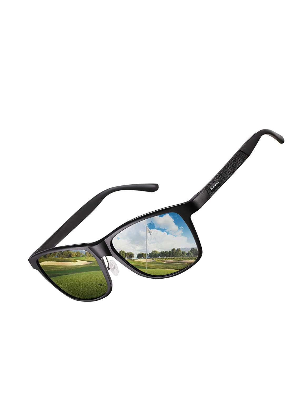 Herren Polarisierte Fahren Sonnenbrille - Schwarz Ultra Light Schutz Metall Rahmen Sonnenbrille